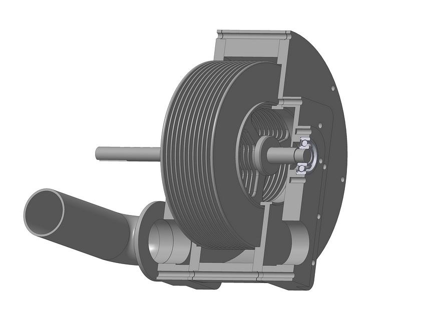 Дисковый насос Тесла. 3D модель.